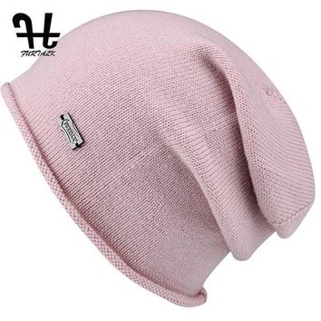 DCCK1IN FURTALK Wool Cashmere Autumn Winter Women Hat Knit Skullies Beanies Slouch Braided Winter Hat For Women