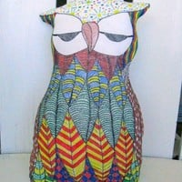 Sleepy Eyed Stuffed Hand Painted Owl Toy or Home Decoration