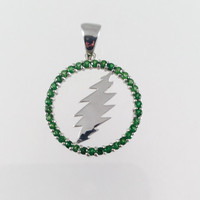 Grateful Dead, Sterling Silver Round 13 Point Bolt Pendant with Tsavorite (green garnet) Gems