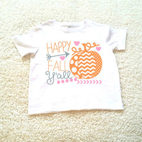 Happy Fall ya'll kid's T-shirt. Sizes 2T, 3t, 4t, 5/6T funny graphic kids shirt, holiday gift for kids, kids shirt