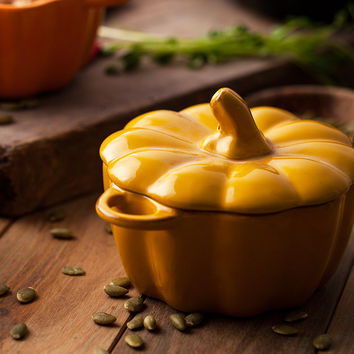 Creative Pumpkin ceramic bowl with lid