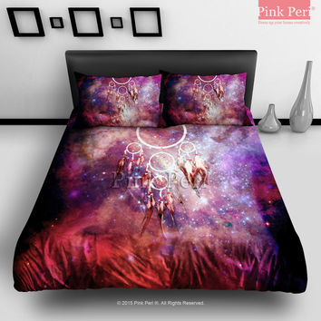 Dream Catcher on Galaxy Nebula Bedding sets Home & Living Wedding Gifts Wedding Idea Twin Full Queen King Quilt Cover Duvet Cover Flat Sheet Pillowcase Pillow Cover 030