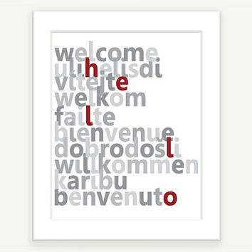 Typography Art Welcome in 10 languages Gray and Red