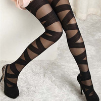 Womens Trendy Sexy Vogue Popular Ripped Stretch Tights Mock Pantyhose Leggings Stockings {Free Shipping}