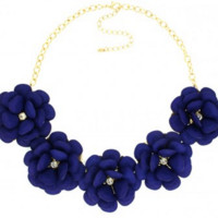 Royal Blue Flower Statement Necklace