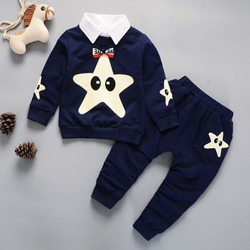 Kids Winter Clothes Starfish Embroidery T-shirt Set Comfortable Warm Boys Children Clothing Girl Winter Clothes For Kids