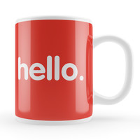 Hello White Ceramic Mug by Tom Pearson