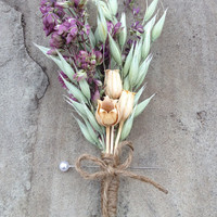 Handmade Wedding Boutonniere Corsage - One-of-a-Kind, Oregano Boutonniere, Oats Boutonniere, Pods Boutonniere, Twine, Country Rustic