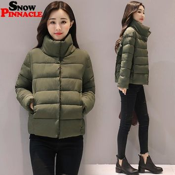 SNOW PINNACLE 2017 Autumn-Winter jacket Women Casual Warm Thicken Solid Short Style Cotton padded Parkas Coat Stand Collar