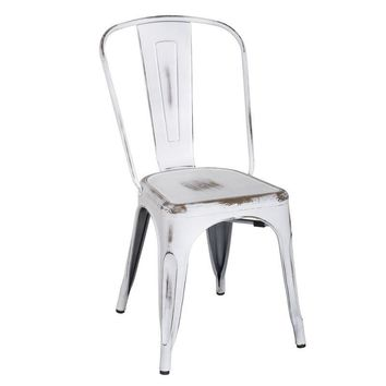 Set of 2 Distressed White Dining Chairs