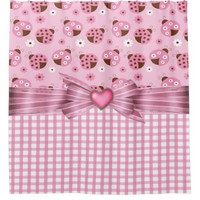 Pink Ladybugs Shower Curtain