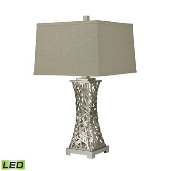 D2604-LED Trump Home Woven Metal Thread LED Table Lamp in Silver Leaf - Free Shipping!