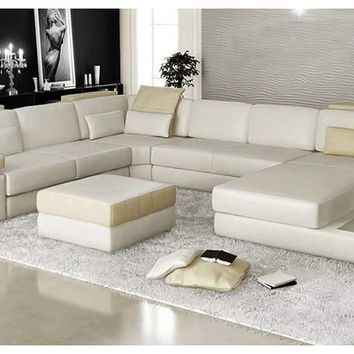 Mantua-U shape leather lounge with chaise-To Review