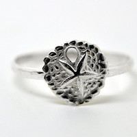 Silver Sand Dollar Ring, Handmade Sterling Silver Ring, Nautical Ring, Sea Ring