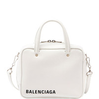 Balenciaga XS Square Logo Leather Tote Bag