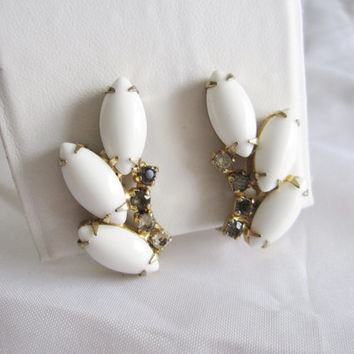 Vintage White Milk Glass Rhinestone Navette Crystal Mad Men Mid Century Style Bridal Climber Clip On Earrings, Something Old for Wedding