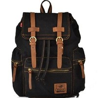 Mona Vintage Retro Canvas And PU leather Backpack School Bag School College Laptop Bag iPad Rucksack Travelling Bag Adjustable Shoulder Straps Fit For Camping And Outdoor Activities Durable Practical Black In Color Brown Straps