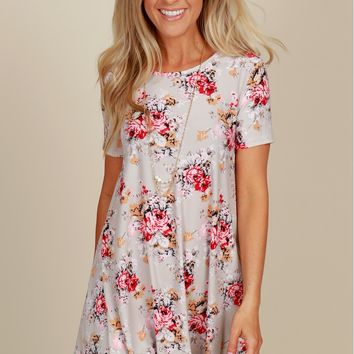 All Day Bouquet Floral Dress Grey