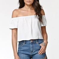 Kendall & Kylie Off Shoulder Top - Womens Shirts - Blue