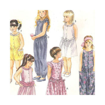 Uncut Pattern  Girls  Sundress in Two Lengths  and Jumpsuit or Romper McCalls 5328 Size 4 5 6