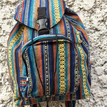 Boho Tribal Backpack Festival Travel bag Hippies Aztec Ikat print Styles Hipster Native Southwestern Pattern holiday for School yellow blue