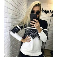 Women Casual Multicolor Stitching Lace Turtleneck Knit Sweater Long Sleeve Pullover Tops