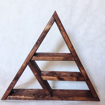 Handmade Wooden Triangle Shelf. Boho Indie Crystal Triangle Shelf. Handmade Wooden Shelf. Home Decor. Boho Decor. Hippie Hippy Decor.
