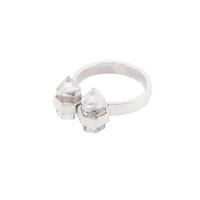 PRE ORDER double promise ring | sterling silver | clear quartz
