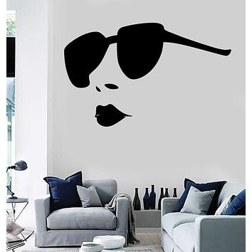 Wall Stickers Vinyl Decal Sexy Hot Girl Full Lips Big Sunglasses Salon EM571