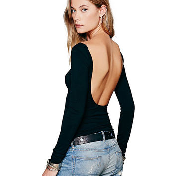Black Long Sleeve Backless Top