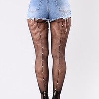 Briley Rhinestone Fishnets Tights - Black