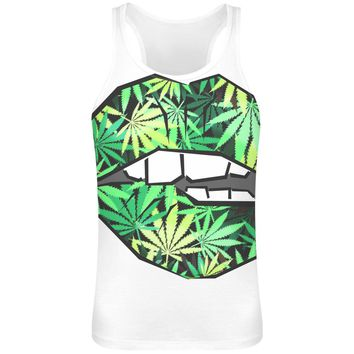 Ganja Lips Sublimation Tank Top T-Shirt For Men - 100% Soft Polyester - All-Over Printing - Custom Printed Mens Clothing