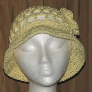 Size: Toddler / Hand Crocheted Yellow COTTON Floppy Sun Hat