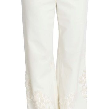 White Stretch Sequined Pants