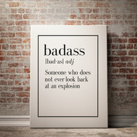 "PRINTABLE ""BADASS"" Definition Print Funny Wall Art Home Decor Art Print Kitchen Wall Art Funny Wall Art Inspirational Quote Typography Print"
