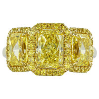 Fancy Intense GIA Cert Yellow Diamond Gold Three Stone Engagement Ring