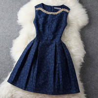 Fashion Blue Embroidered Dress &Party Dress-Fashion Shopping Mall
