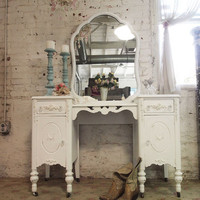 Painted Cottage Chic Shabby White Romantic Vanity VAN48