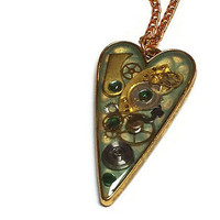 Green and Gold Steampunk Heart Pendant - Steampunk Valentines Day Necklace