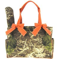 Orange Camo Camouflage Tote Purse Diaper Bag with Soft Velvety Feel