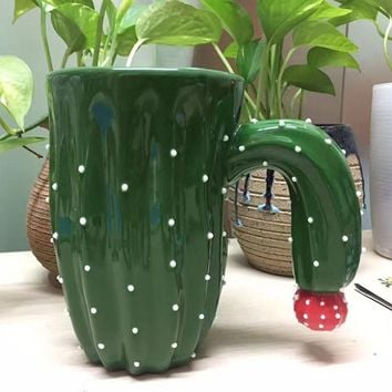 3D Cactus Shape Ceramic Coffee Cup Plant Coffee Mug with Red Flower Decoration