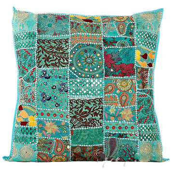 "24"" Extra Large Blue Gypsy Throw Pillow for Couch, Decorative Accent Pillow, Patchwork Cushion Cover, Ethnic Indian Pillow Cottage, Pillow"