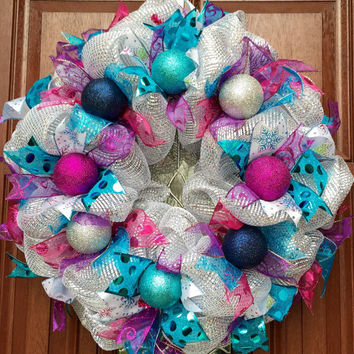 Deco Mesh Christmas Wreath // Winter Wreath // Frozen Inspired // Silver, teal, pink, purple