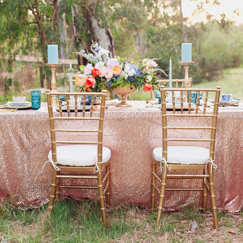 Rose gold sequin tablecloth | sequin table linen