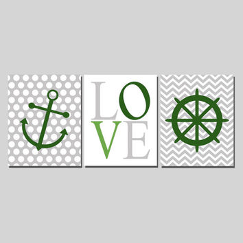 Nursery Print Set, Love Nautical Chevron Polka Dots Green Gray White Navy Anchor Wheel Baby Boy, 8x10 Digital Download Wall Art Decor Print