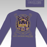 Sassy Frass Preppy Tiger  LSU Long Sleeve Bright Girlie T Shirt