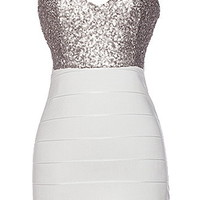 Shine Bright Dress | Silver White Sequin Bodycon Bandage Dresses | Rickety Rack