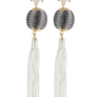 White Color Cord Wrapped Chunky Ball Tassel Earring