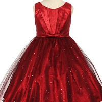 Red Pleated Taffeta Girls Dress with Sparkling Tulle Skirt 2T-12
