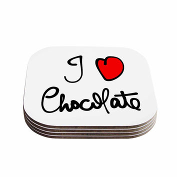 "Gabriela Fuente ""I Love Chocolate"" Food Typography Coasters (Set of 4)"
